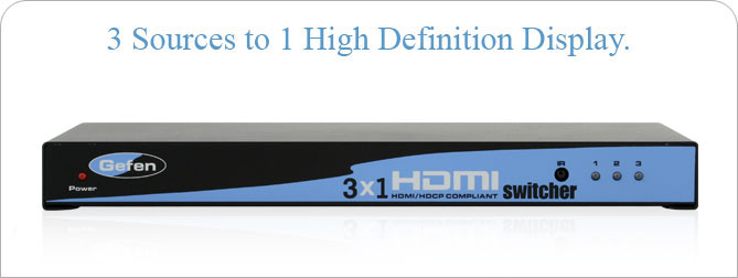 3x1 HDMI Switcher Black - EXT-HDMI-341-BLK