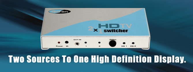 2x1 HDTV Switcher NEW With Discrete IR Remote Cont